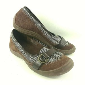 Lands End Womens Sz 8B Loafers Brown Buckles Plaid